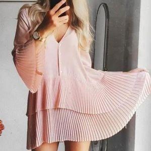 Zara pink pleated oversized blouse dress